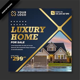 Złoty Niebieski Luksusowy Dom Na Sprzedaż Post W Mediach Społecznościowych Premium Wektorów