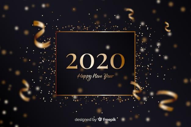 Złoty nowy rok 2020 z konfetti