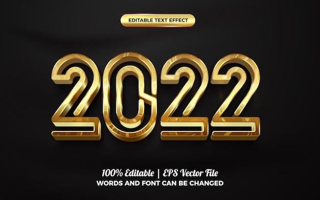 Złoty nowy rok 2022 3d edytowalny efekt tekstowy