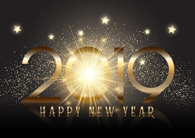 Złoty nowy rok tło z efekt blasku