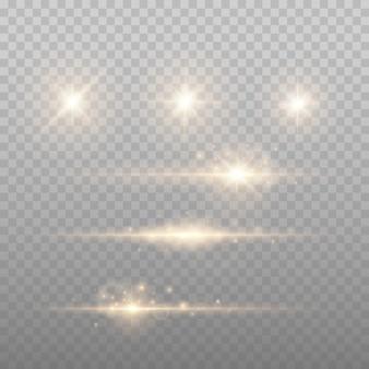 Złoty obiektyw migocze ilustracji wektorowych. połysk starlight na białym tle. świecący efekt świetlny
