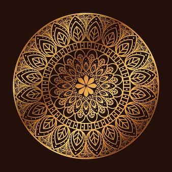 Złoty okrąg mandali na ciemnym tle, luksusowa mandala vintage, ozdobne dekoracje
