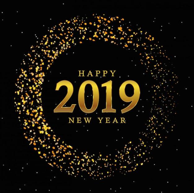 Złoty okrąg nowego roku 2019 rocznika tło