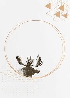 Złoty okrągły wektor ramki jelenia