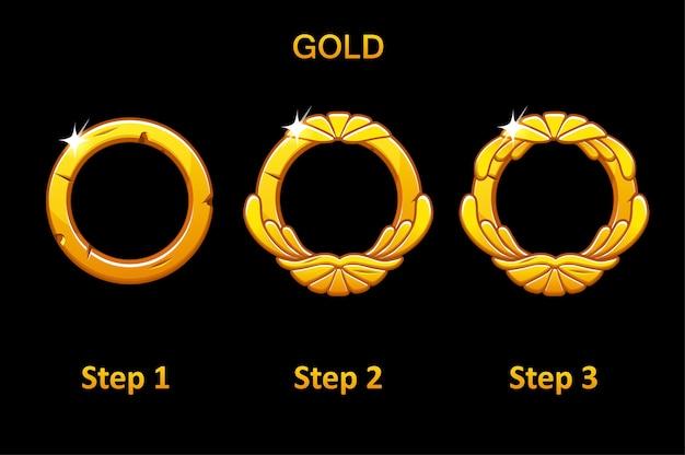 Złoty okrągły zestaw ramek