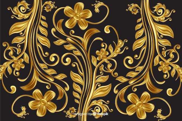 Złoty ornamentacyjny kwiecisty dekoracyjny tło