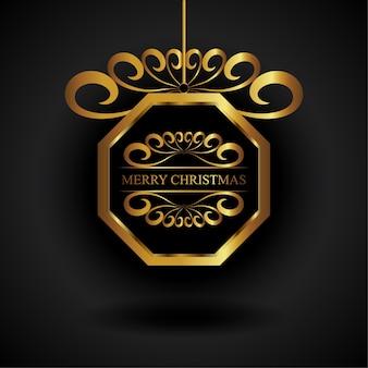 Złoty ośmiokąt świąteczny ornament