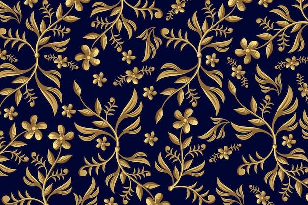 Złoty ozdobnych kwiatów backgrounf