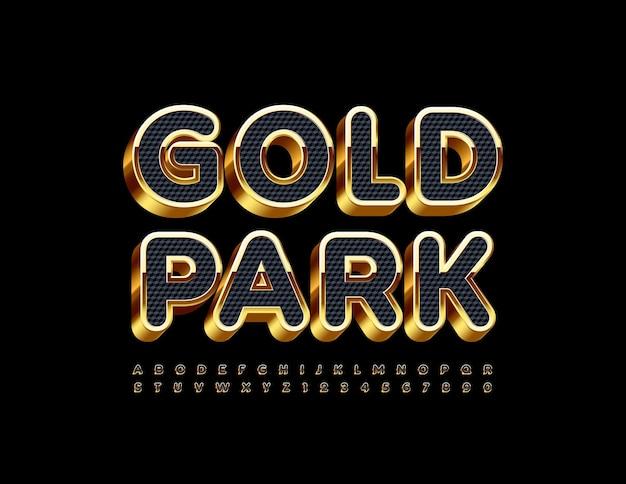 Złoty park z ekskluzywną czcionką 3d elegancki zestaw liter alfabetu i cyfr