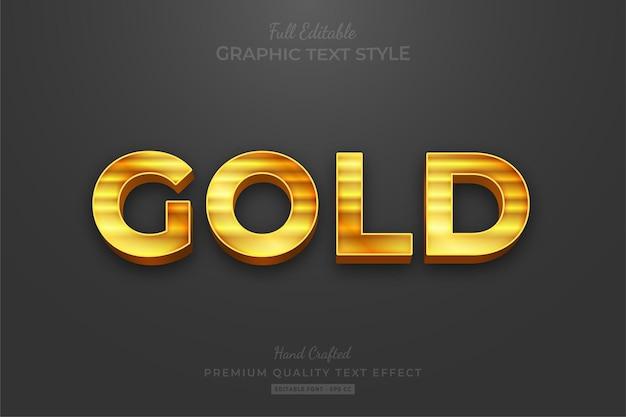 Złoty pasek elegancki styl czcionki efektu edytowalnego tekstu