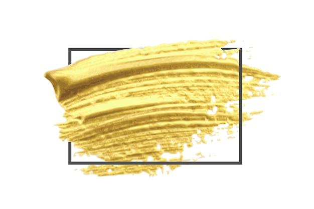 Złoty pędzel wzór z czarną ramką na białym tle.