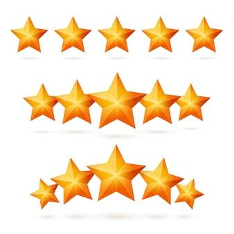 Złoty pięciogwiazdkowy element projektu do przeglądu certyfikatu lub aplikacji. wygraj nagrodę lub nagrodę, ocenę aplikacji i informacje zwrotne, nagrodę za osiągnięcie sukcesu w biznesie zestaw ilustracji wektorowych na białym tle