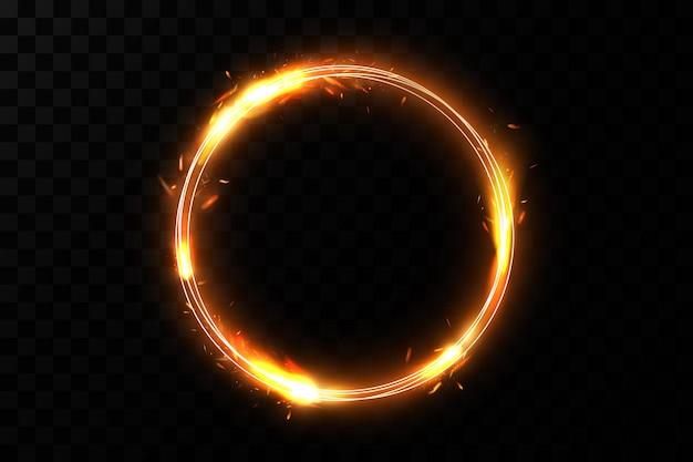 Złoty pierścień ognia. luksusowa musująca rama.