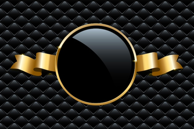 Złoty pierścionek i wstążka na czarnym tle vip luksusowy szablon projektu