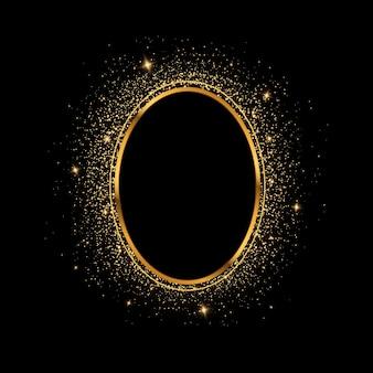 Złoty pierścionek luksusowa błyszcząca ramka złota ramka z efektami świetlnymi