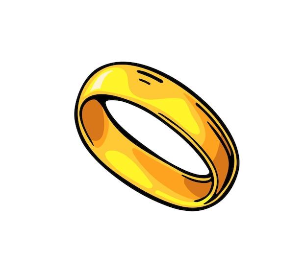 Złoty pierścionek. ręcznie rysowane w stylu graficznym. płaskie ilustracja wektorowa kolor vintage dla informacji graficznych, plakat, www. na białym tle