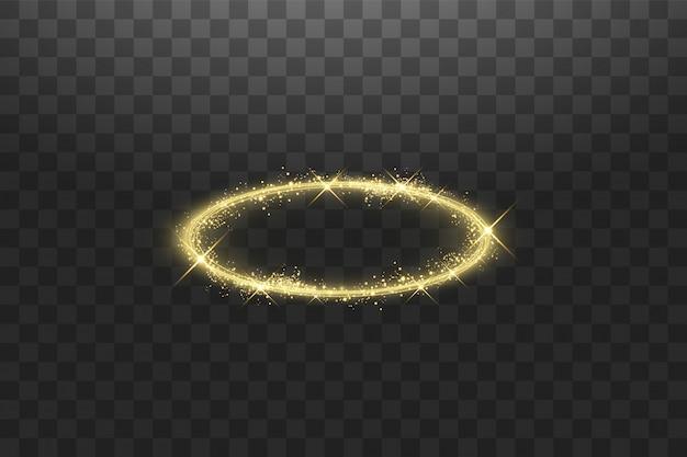 Złoty pierścionek z aureolą anioła. izolowane, ilustracji wektorowych
