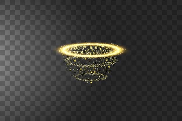 Złoty pierścionek z aureolą anioła. na białym tle na czarny przezroczysty