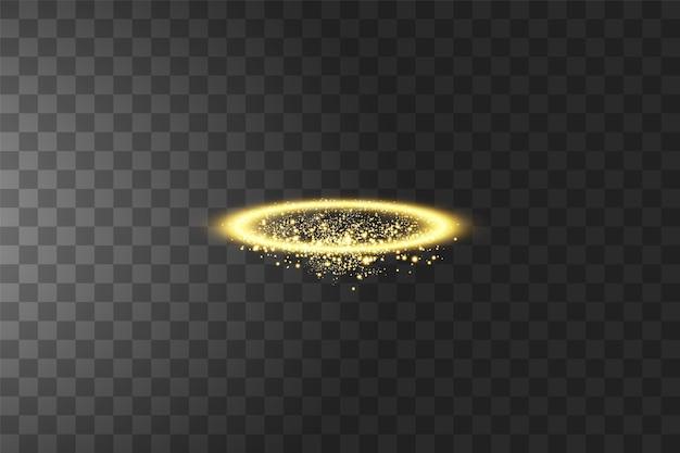 Złoty pierścionek z aureolą anioła. na białym tle na czarnym przezroczystym tle.