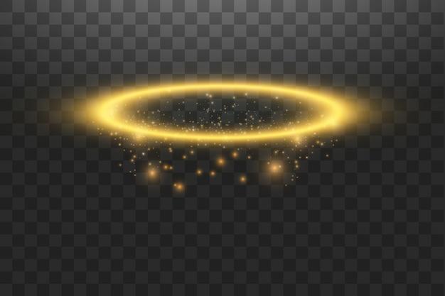 Złoty pierścionek z aureolą. izolowane, ilustracji wektorowych
