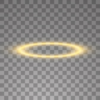Złoty pierścionek z aureolą. na czarnym przezroczystym tle, ilustracja.