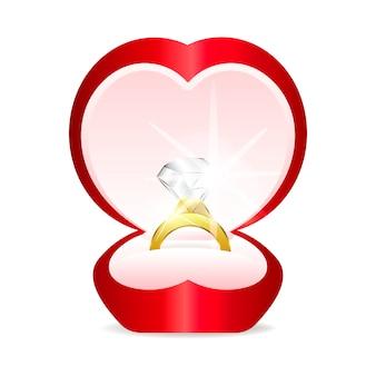 Złoty pierścionek z kamieniem serca