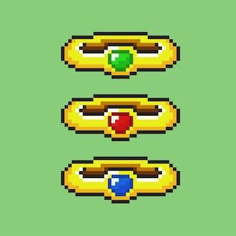Złoty pierścionek z kamieniem szlachetnym w stylu pixel art