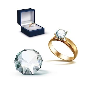 Złoty pierścionek zaręczynowy biały błyszczący przezroczysty diament niebieski pudełko z biżuterią