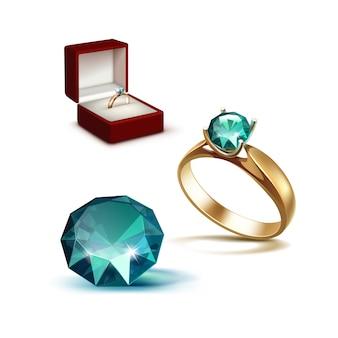 Złoty pierścionek zaręczynowy emerald shiny clear diamond red jewelry box