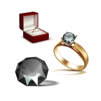 Złoty pierścionek zaręczynowy z czarnym błyszczącym przezroczystym diamentowym czerwonym pudełkiem na biżuterię