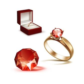 Złoty pierścionek zaręczynowy z czerwonym błyszczącym przezroczystym diamentowym pudełkiem na biżuterię