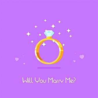 Złoty pierścionek zaręczynowy z diamentem. propozycja ślubu i koncepcja miłości. ilustracja wektorowa płaski.