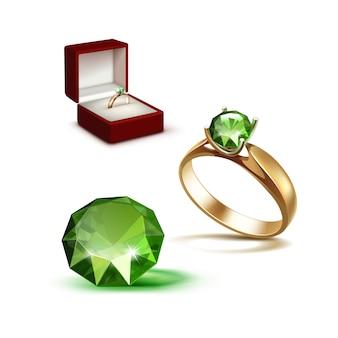 Złoty pierścionek zaręczynowy zielony błyszczący przezroczysty diament czerwony pudełko z biżuterią