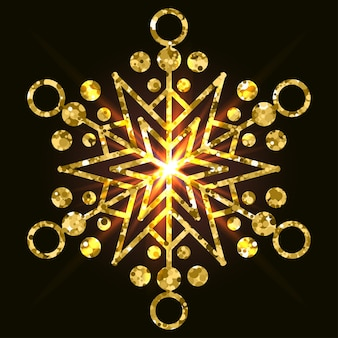Złoty płatek śniegu do wykorzystania w projektowaniu na zimową kartę z zaproszeniem do albumu itp