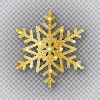 Złoty płatek śniegu na przezroczystym tle