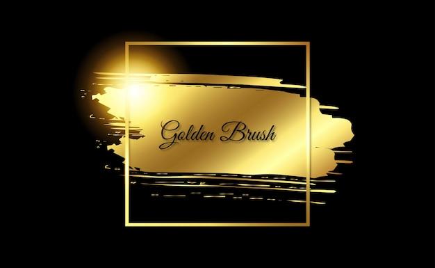 Złoty pociągnięcie pędzla ramki z połyskiem