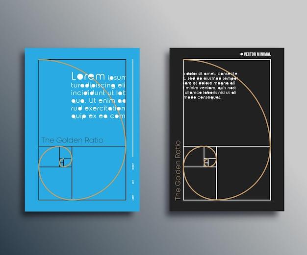 Złoty podział - projekt spirali fibonacciego do ulotki, okładki broszury, karty, typografii lub innych produktów poligraficznych. ilustracja wektorowa.