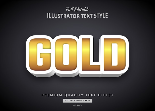 Złoty pogrubiony efekt stylu tekstu 3d