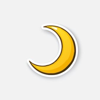 Złoty półksiężyc cartoon half moon naklejka w stylu komiksowym z konturem ilustracji wektorowych