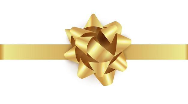 Złoty prezent łuk ze wstążką realistyczny złoty świecący boże narodzenie łuk szablon ilustracja boże narodzenie