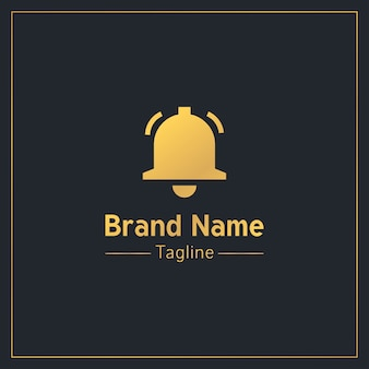 Złoty profesjonalny szablon logo dzwonka