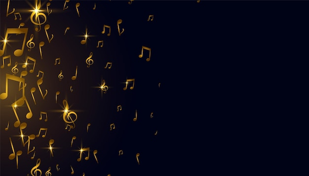Złoty projekt tła nut muzycznych