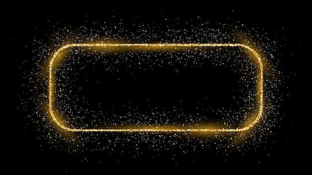 Złoty prostokąt zaokrąglony rama z brokatem, błyszczy i flary na ciemnym tle. puste luksusowe tło. ilustracja wektorowa.