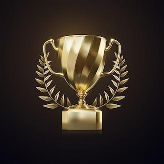 Złoty puchar mistrza z wieńcem laurowym na białym tle na czarnym tle