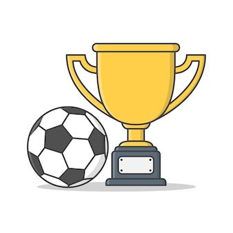 Złoty puchar z piłką nożną. nagroda w turnieju sportowym flat