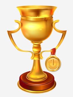 Złoty puchar zwycięzców na szarym tle
