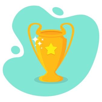 Złoty pucharek z gwiazdką o płaskim kształcie. puchar zdobywcy nagrody z cieniem