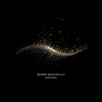 Złoty pył gwiezdny światło, brokatowe tło