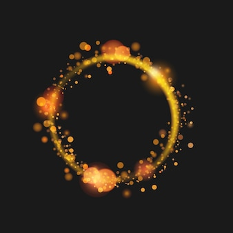 Złoty pył koło ramki magiczne tło
