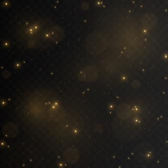 Złoty pył. magiczny blask. kurz png. lekki png. efekt świetlny. błysk iskier.